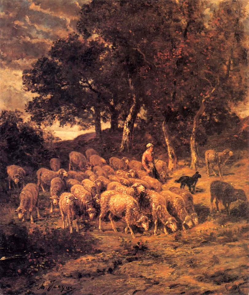 Charles Emile Jacque ,   A Shepherdess and Her Flock  ,  ca. 1867     Oil on canvas ,  26 x 22 in. (66 x 55.9 cm)     JAC-001-PA