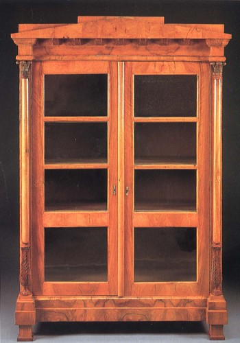 19th Century AUSTRIAN - Biedermeier Black Walnut Bookcase