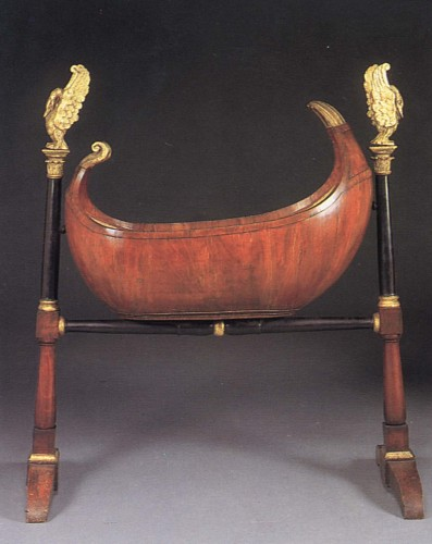 19th Century AUSTRIAN - Biedermeier Black Walnut, Ebonized and Parcel-Gilt Cradle