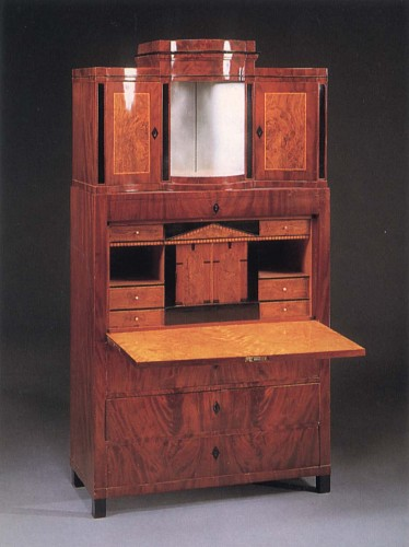 19th Century AUSTRIAN - Biedermeier Mahogany, Fruitwood and Burl Walnut Fall-Front Secrétaire