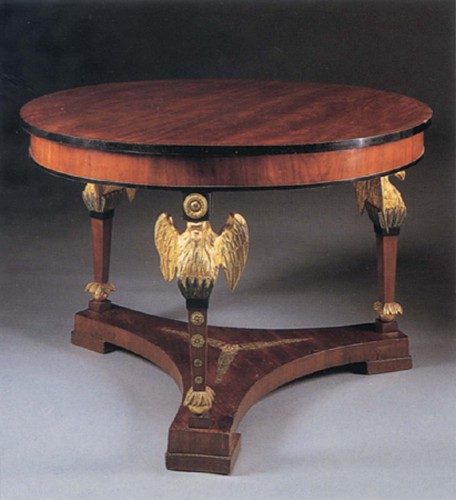 19th Century AUSTRIAN - Neoclassical Mahogany and Parcel Gilt Center Table
